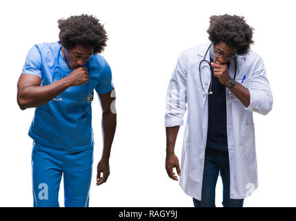 Collage of african american young surgeon, nurse, doctor man over isolated background feeling unwell and coughing as symptom for cold or bronchitis. H - Stock Photo