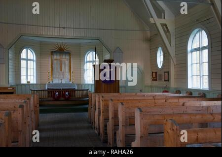 Whalers' Church, interior, former Grytviken Whaling Station, South Georgia, Antarctica - Stock Photo