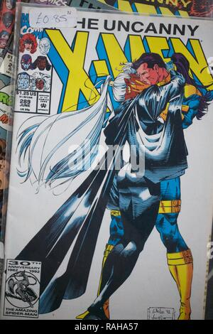 X-men comic books published by Marvel Comics, featuring black character called Storm. - Stock Photo