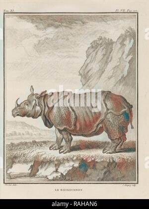 Le Rhinoceros, Histoire naturelle, générale et particulière: avec la description du cabinet de roi, Buffon, Georges reimagined - Stock Photo