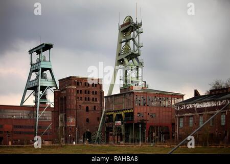 Zeche Ewald Colliery, former coal mine, Doppelbock headframe of mine shaft No. 7, left, Malakow Tower and mine shaft No. 2 - Stock Photo