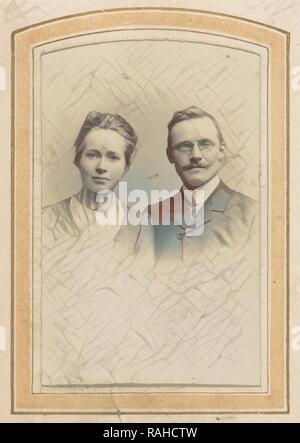 Portrait of a woman and a man with a pince-nez, M. Buttinghausen c. 1873 - c. 1895, M. Büttinghausen, c. 1873 - c reimagined - Stock Photo