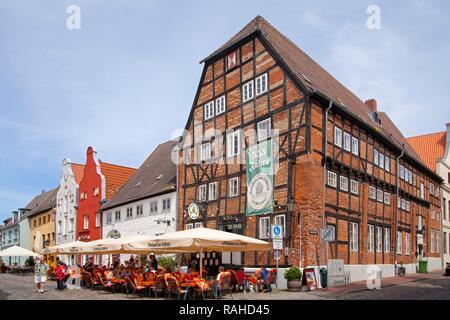 Restaurants, Am Lohberg street, Wismar, Mecklenburg-Western Pomerania - Stock Photo
