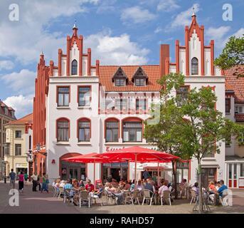 Restaurant on the market square or market place, Wismar, Mecklenburg-Western Pomerania - Stock Photo