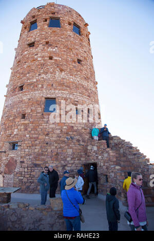 Desert View Watchtower, also known as the Indian Watchtower at Desert View, is a 70-foot-high stone building located on the South Rim of the Grand Can - Stock Photo