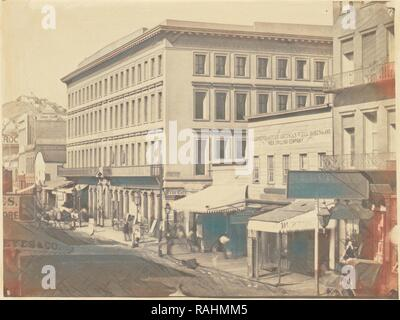 Montgomery Block, Montgomery Street, G. R. Fardon (British, 1807 - 1886), United States, about 1856, Salted paper reimagined - Stock Photo