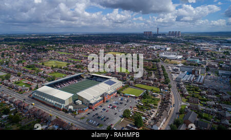 Halton Stadium, home of the Widnes Vikings RLFC, Widnes FC, a multipurpose football and rugby venue with all weather artificial grass in Cheshire - Stock Photo
