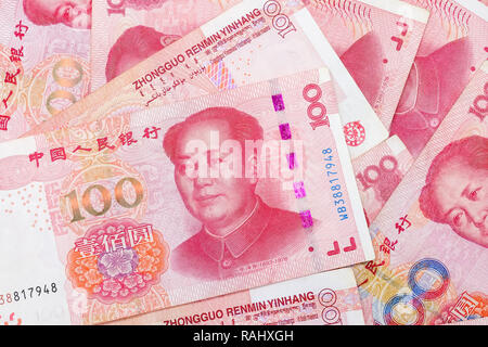 Chinese 100 RMB ,Yuan banknotes from China's currency. - Stock Photo