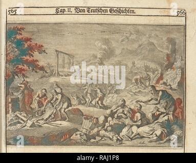 Famine of 1637, Allgemeine Schau-Bühne der Welt, oder, Beschreibung der vornehmsten Welt-Geschichte, Ludolf, Hiob reimagined - Stock Photo