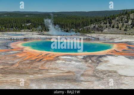 Grand Prismatic Spring. Hot springs. Yellowstone National Park. Wyoming. USA. - Stock Photo