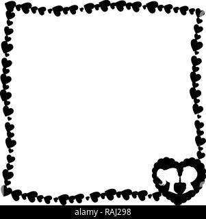 black and white retro vintage border photo frame of hearts with big heart silhouette and loving couple in corner. Monochrome template for Valentines d - Stock Photo