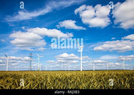 Wind turbines, wind power plant, wind farm, high voltage power lines, near Meerhof, North Rhine-Westphalia - Stock Photo