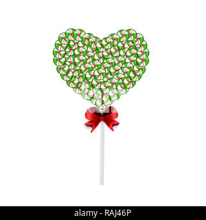 Green and white lolipop heart made of sweets and candies and bounded with red bow isolated on white background.   illustration, icon, clip art.
