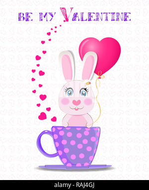 Greeting card with cute cartoon rabbit holding pink heart balloon, sitting in violet cup with polka dots with hearts confetti around and text be my va - Stock Photo