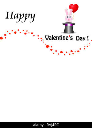 Happy valentines day greeting card design with cute cartoon pink rabbit with red heart shaped balloon sitting in the black magic cylinder top hat and  - Stock Photo