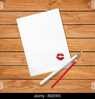 Love letter on Valentine's day. Clean sheet with red kissmark, fountain pen and red pencil on wooden background. Top view   illustration, border, temp - Stock Photo
