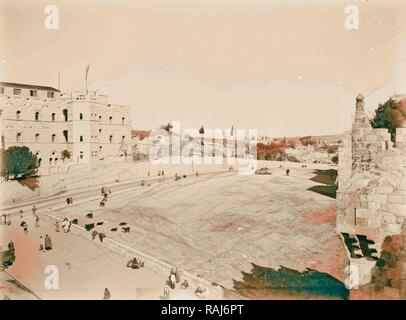 Newer Jerusalem Street scene and courtyard. 1898, Israel. Reimagined by Gibon. Classic art with a modern twist reimagined - Stock Photo