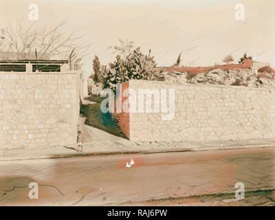 Newer Jerusalem Street and wall with opening. 1920, Israel. Reimagined by Gibon. Classic art with a modern twist reimagined - Stock Photo