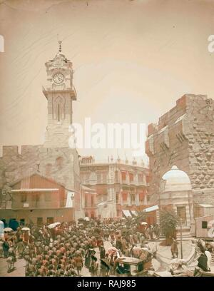 Marching in front of American Colony store. Grand New Hotel, Jerusalem 1907 Israel. Reimagined by Gibon. Classic art reimagined - Stock Photo