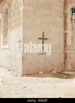 Palestine events. The 1929 riots, August 23 to 31. Crosses on Christian homes. Marked so as not to be mistaken for reimagined - Stock Photo