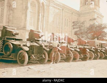 Palestine events. The 1929 riots, August 23 to 31. British armoured cars 'standing to' during the outbreak. At the reimagined - Stock Photo