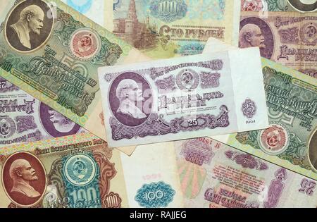 Historic banknote, Soviet Union rubles - Stock Photo
