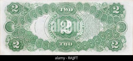Historic banknote, two dollars USA, 1917 - Stock Photo