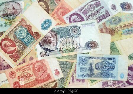 Historic banknotes, Soviet Union rubles, 1961 - 1991 - Stock Photo