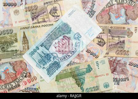 Historic banknotes, Russian rubles, 1992 - 1995 - Stock Photo