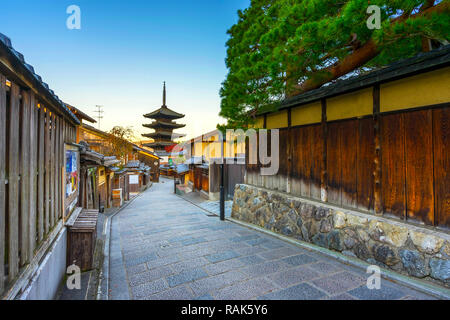 Yasaka Pagoda with sunrise. in Kyoto,Japan.This pagoda is a five-story pagoda.This is the last remnant of Hokanji Temple. - Stock Photo