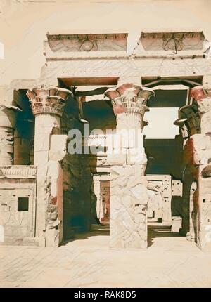 Egyptian views Kom-Ombo. Great hypostyle hall of Temple of Sobk and Horoeris 1900, Egypt. Reimagined - Stock Photo
