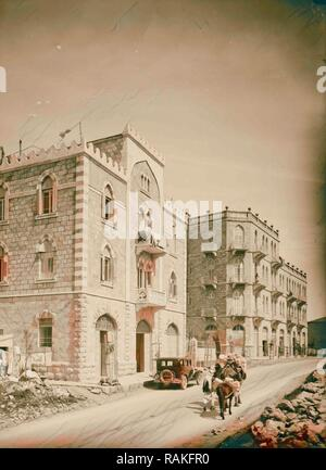 Newer Jerusalem and suburbs Jaffa Road. Apartment houses built by Arabs. 1920, Israel. Reimagined by Gibon. Classic reimagined - Stock Photo