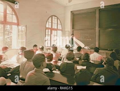 Zionist activities in Palestine. The Hebrew University. Class in mathematics. Einstein Institute. 1925, Jerusalem reimagined - Stock Photo
