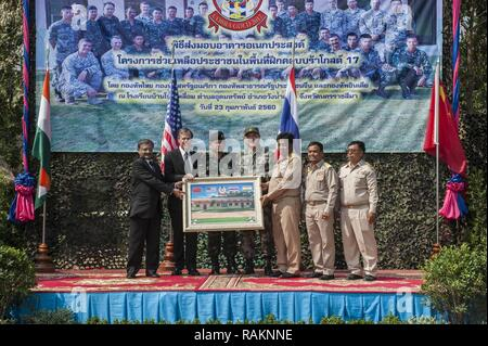 NAKHON RATCHASIMA PROVINCE, Thailand (Feb. 23, 2017) -- The Ban Non Lueam school expansion project is the result of the joint efforts of Multi-National Forces from the U.S., Thailand, India and China, part of Cobra Gold 2017. Cobra Gold, in its 36th iteration, is the largest Theater Security Cooperation exercise in the Indo-Asia-Pacific. This year's focus is to advance regional security and ensure effective responses to regional crises by bringing together a robust multinational force to address shared goals and security commitments in the Indo-Asia-Pacific region. - Stock Photo