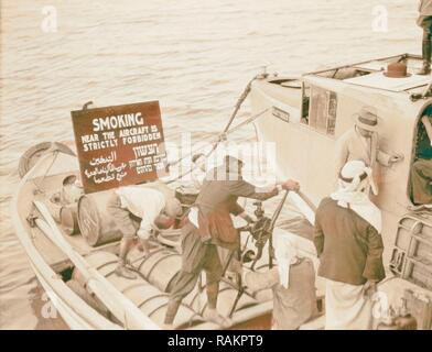 Flying boat 'Satyrus' on Sea of Galilee, ca. 1935. a small boat with sign in English, Arabic and Hebrew reading ' reimagined - Stock Photo