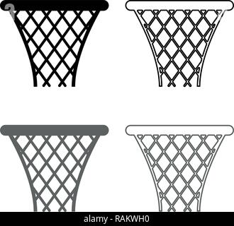 Basketball basket Streetball net basket icon set grey black color vector I outline flat style simple image - Stock Photo