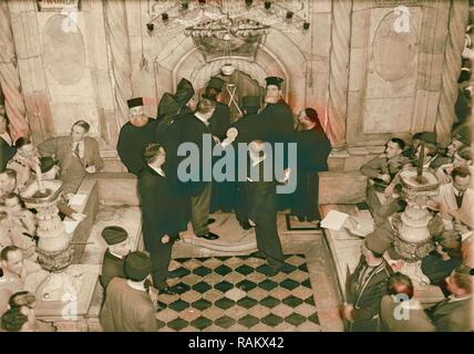 Calendar of religious ceremonies in Jerusalem Easter period 1941 Orthodox Holy Fire, Israel. Reimagined - Stock Photo