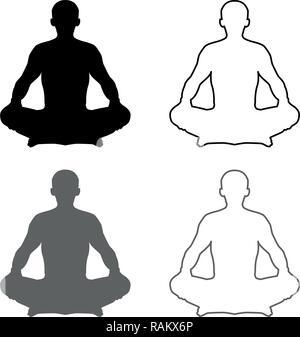 man in pose lotus yoga pose meditation position silhouette