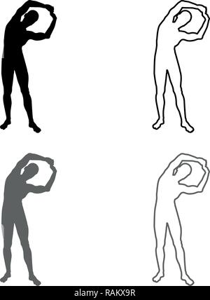 Man doing exercises tilts to the side Sport action male Workout silhouette yoga front view icon set grey black color vector I outline flat - Stock Photo