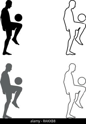 Soccer player juggling ball with his knee or stuffs the ball on his foot silhouette icon set grey black color vector I outline flat style s - Stock Photo