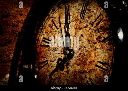 Abstract Grunge Retro Clock Background Photo. Vintage old and Dusty. - Stock Photo