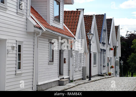 Typical houses in Old Stavanger (called 'Gamle Stavanger'), Norway - Stock Photo