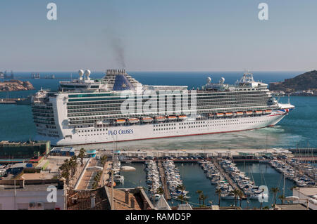 Cruise leaving the port of Cartagena, in the province of Murcia, Spain, on April 12, 2017. - Stock Photo
