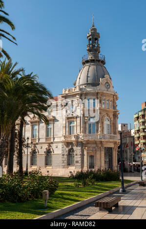 CARTAGENA, SPAIN – APRIL 12, 2017: Facade of the Town Hall of Cartagena, one of the main Modernist buildings in the city. It was built between 1900 an - Stock Photo