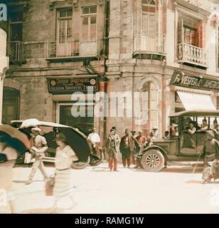Corner of Grand Hotel showing American Colony stores and Dodge auto business (one of Am. Colony enterprises). 1920 reimagined - Stock Photo
