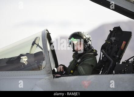 Royal Air Force Flight Lt. Jonny Mulhall, 6th Squadron Eurofighter Typhoon pilot, prepares the cockpit for take-off during Red Flag 17-1 at Nellis Air Force Base, Nev., Feb. 7, 2017.The Typhoon trained alongside the F-35A Lightning II for the first time at Red Flag preparing the RAF pilots for the introduction of the F-35B to the Royal Air Force and Navy. - Stock Photo