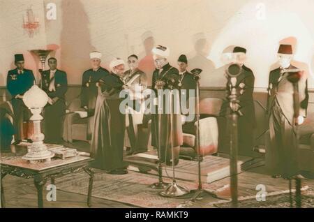 Coronation' of King Abdullah in Amman. Sheik handing King Abdullah proclamation of the 'crowning'. 1946, Jordan reimagined - Stock Photo