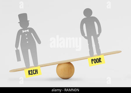 Poor and rich people on balance scale - Concept of social inequality between rich and poor people