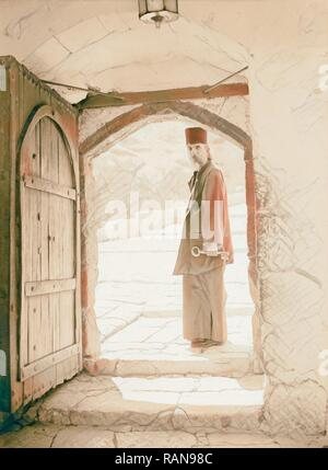 Mar Saba. Doorway with monk looking out 1934, West Bank. Reimagined by Gibon. Classic art with a modern twist reimagined - Stock Photo
