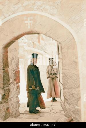 Mar Saba. Doorway with monk looking in. 1934, West Bank. Reimagined by Gibon. Classic art with a modern twist reimagined - Stock Photo